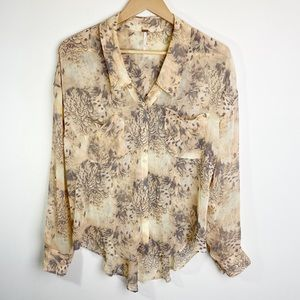 Free People Easy Rider Feather Print Blouse Small
